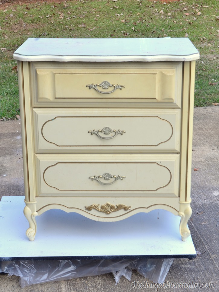 Completely new $20 yard sale French Provincial painted chest turned nightstand CL06