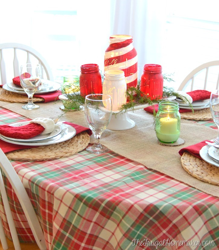 Christmas tablescape and chalky painted mason jars