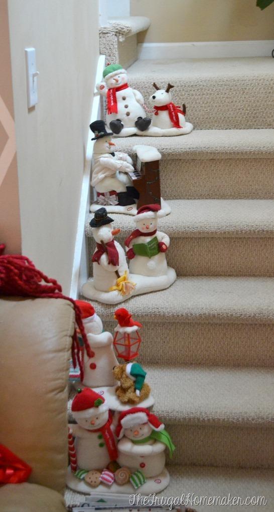 Hallmark snowmen on stairs