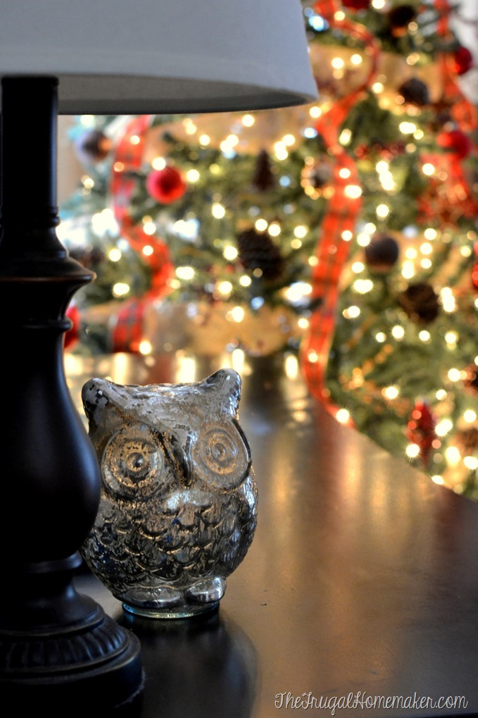 mercury glass owl and Christmas tree