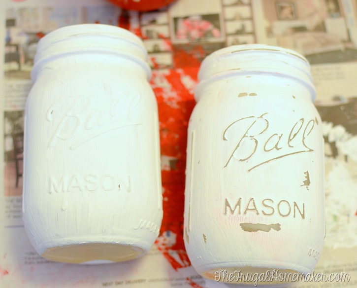 sanded and distressed jars