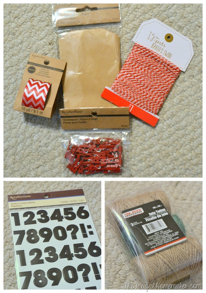 supplies for Christmas countdown calendar