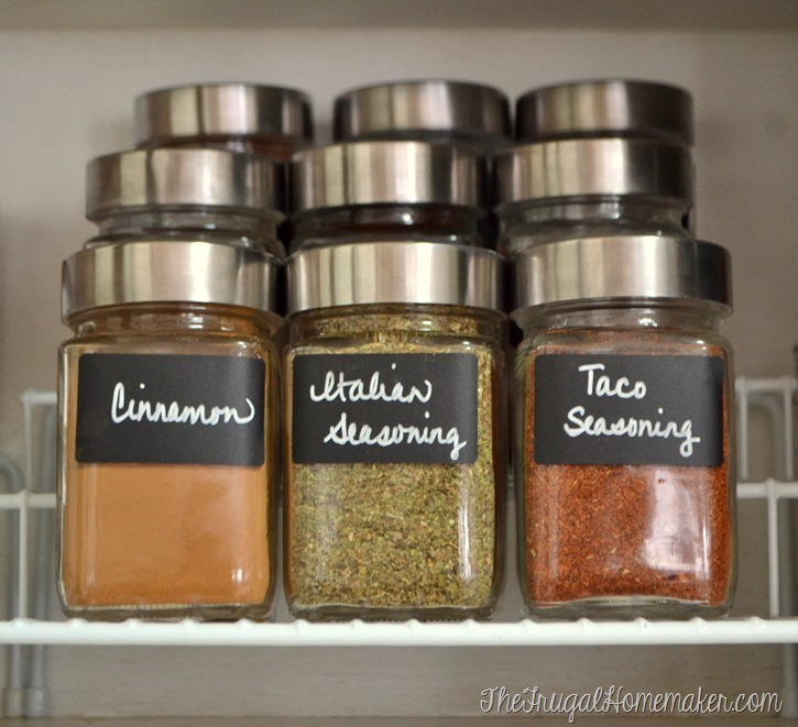 Organizing spices in glass jars