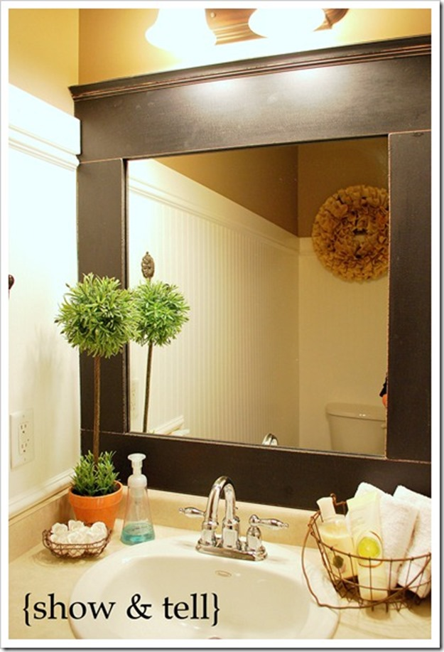 10 diy ideas for how to frame that basic bathroom mirror 23092