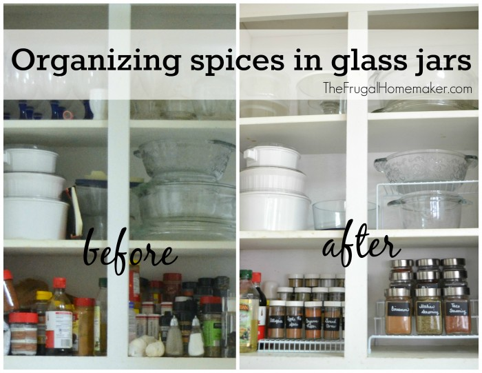 Organizing spices in glass jars before+after