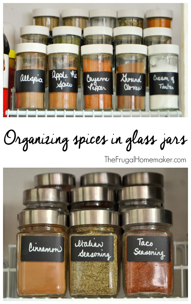 Organizing spices in glass jars with chalkboard labels