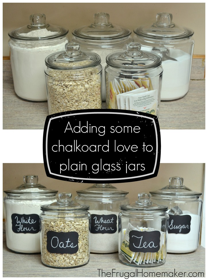 Adding some chalkboard love to plain glass jars