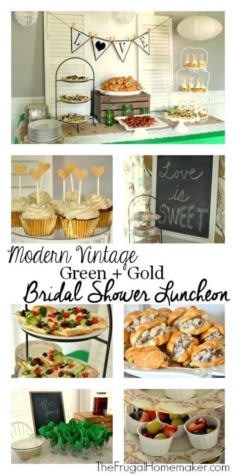 Modern Vintage Green   Gold Bridal shower