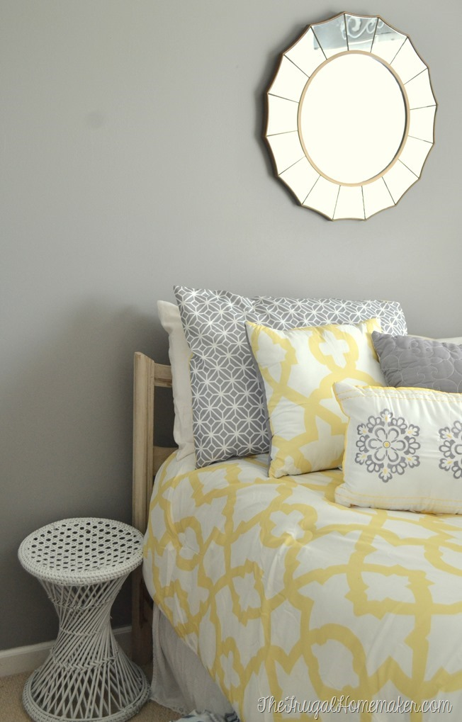 white yard sale stool in guest bedroom