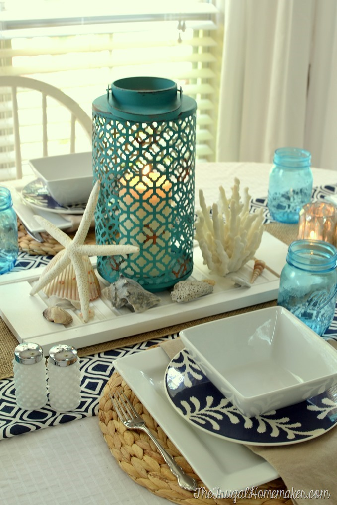 Beach themed tablescape + my husband's favorite pie