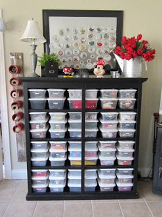 dresser turned into craft storage