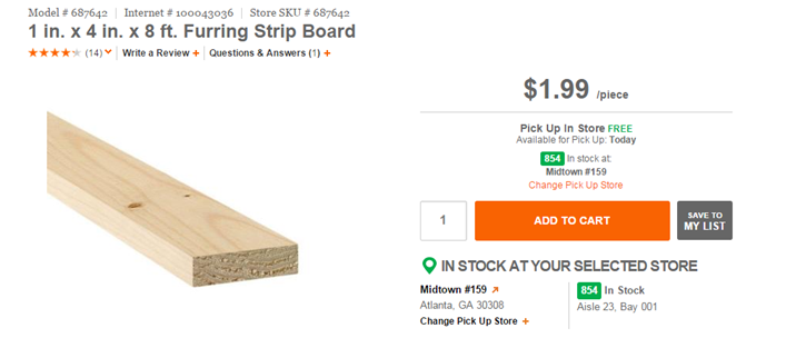 1x4 board at Home Depot