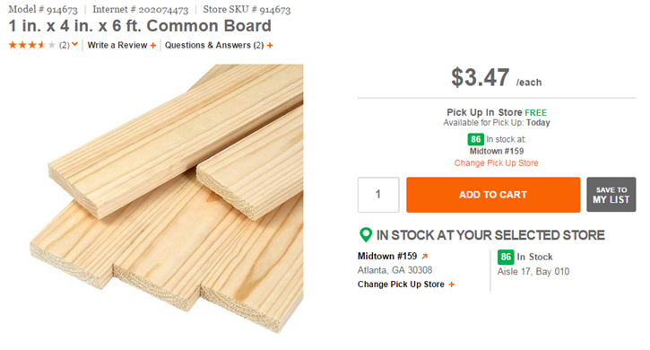 1x4 by 6 foot board at Home Depot