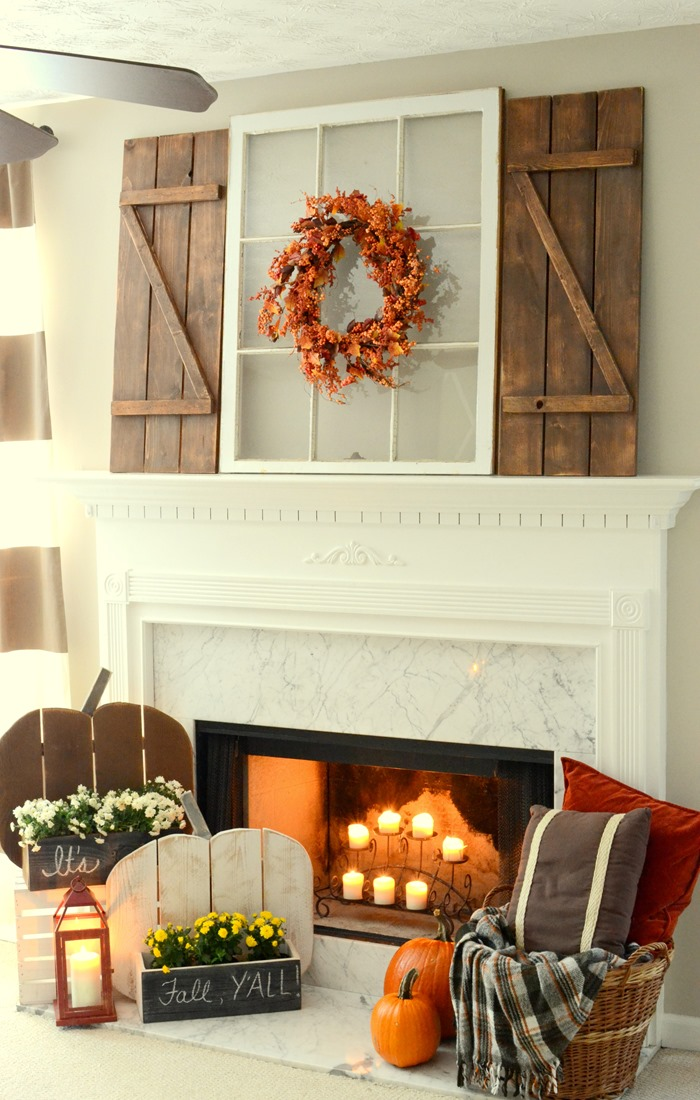 Rustic Fall Mantel with DIY Wood Pumpkins & DIY Barn Wood Shutters