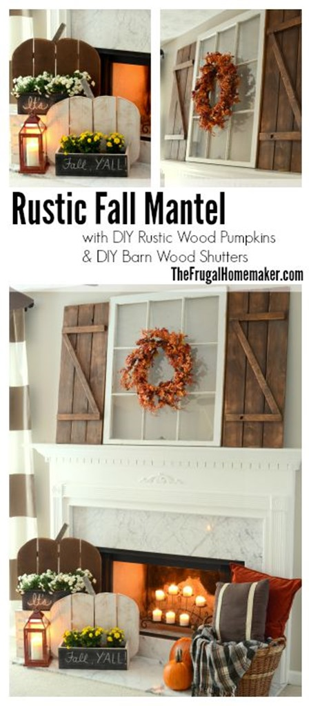 Rustic Fall Mantel with DIY Wood Pumpkins and DIY Barn Wood Shutters