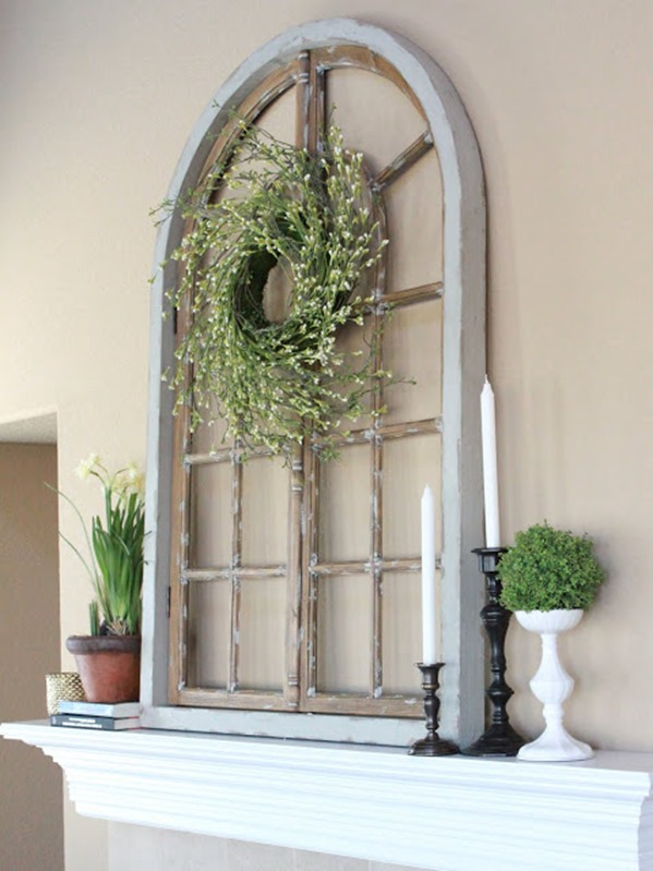 arched window on mantel