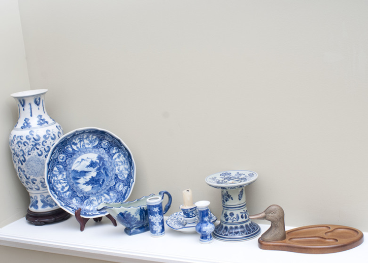 blue and white decorative items