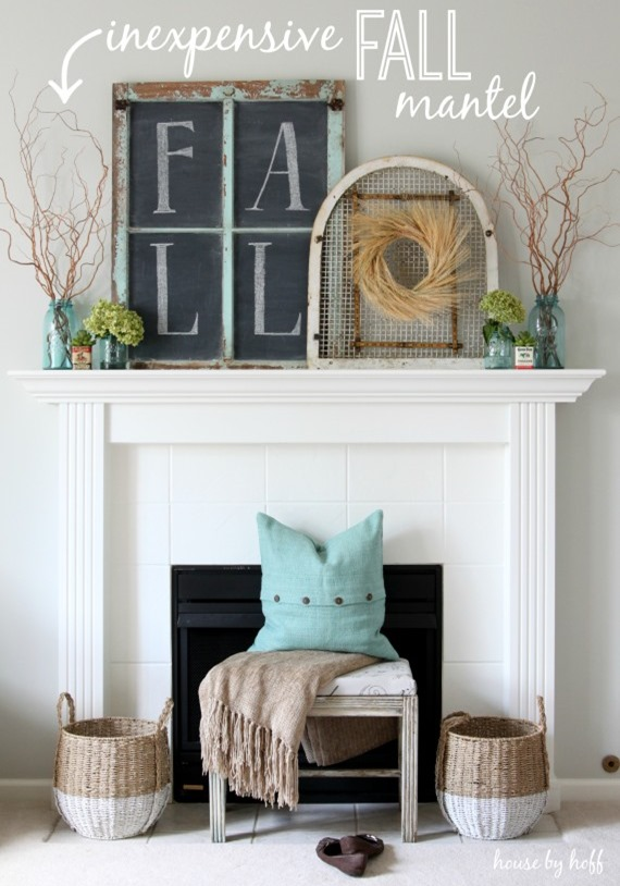 inexpensive-fall-mantel with window turned chalkboard