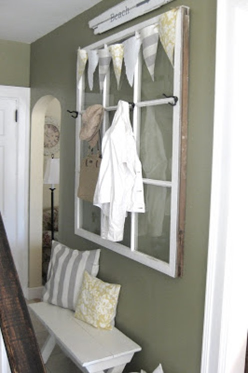 old window used as hallway storage