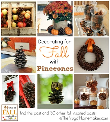 Decorating for fall with pinecones
