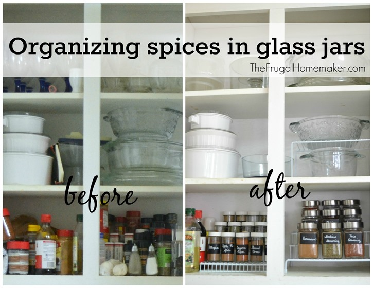 Organizing spices in glass jars before after
