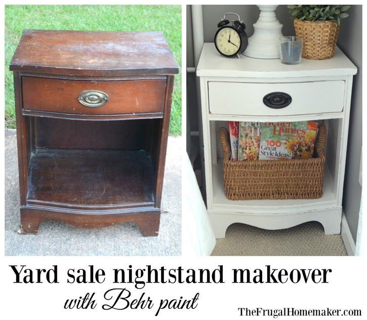 Paint something (Yard sale nightstand makeover with Behr paint)