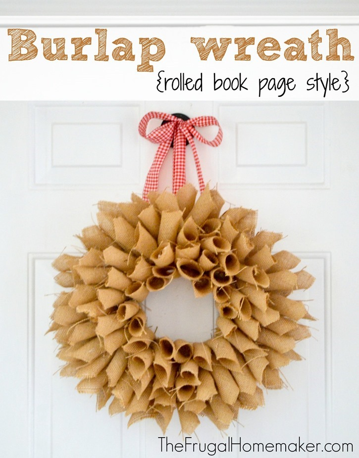 Burlap wreath (rolled book page style)
