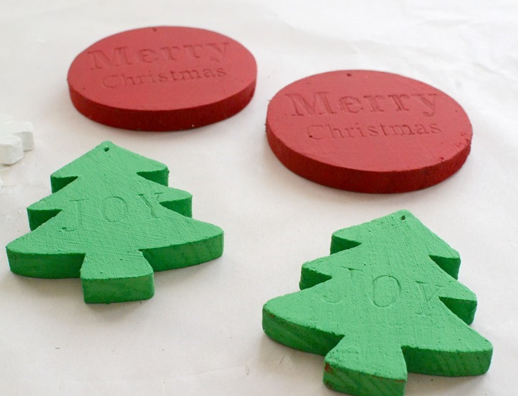 DIY Chalky Finish Painted Wood Christmas Ornaments