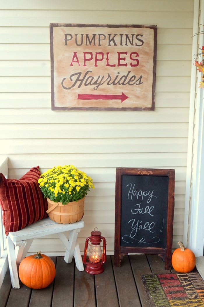 DIY painted fall sign and fall porch