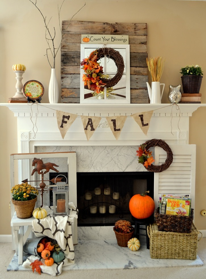 Fall mantel with DIY pallet wood backdrop