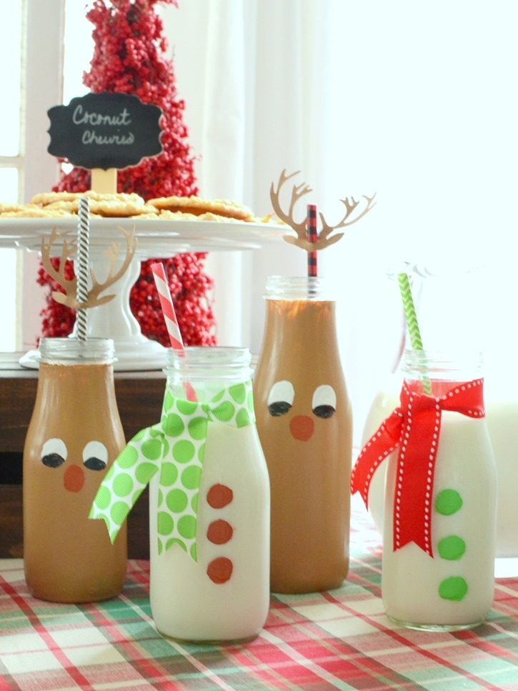 Christmas Cookie Party with Christmas Themed Milk Jars