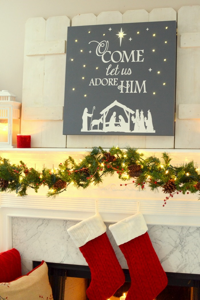 DIY lighted Christmas canvas art