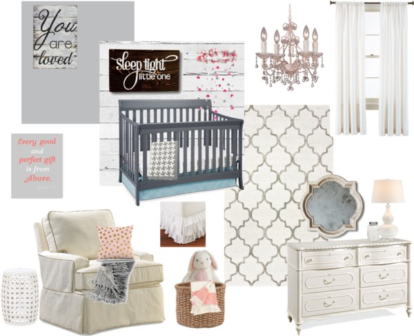 Gray and white girls vintage + rustic nursery