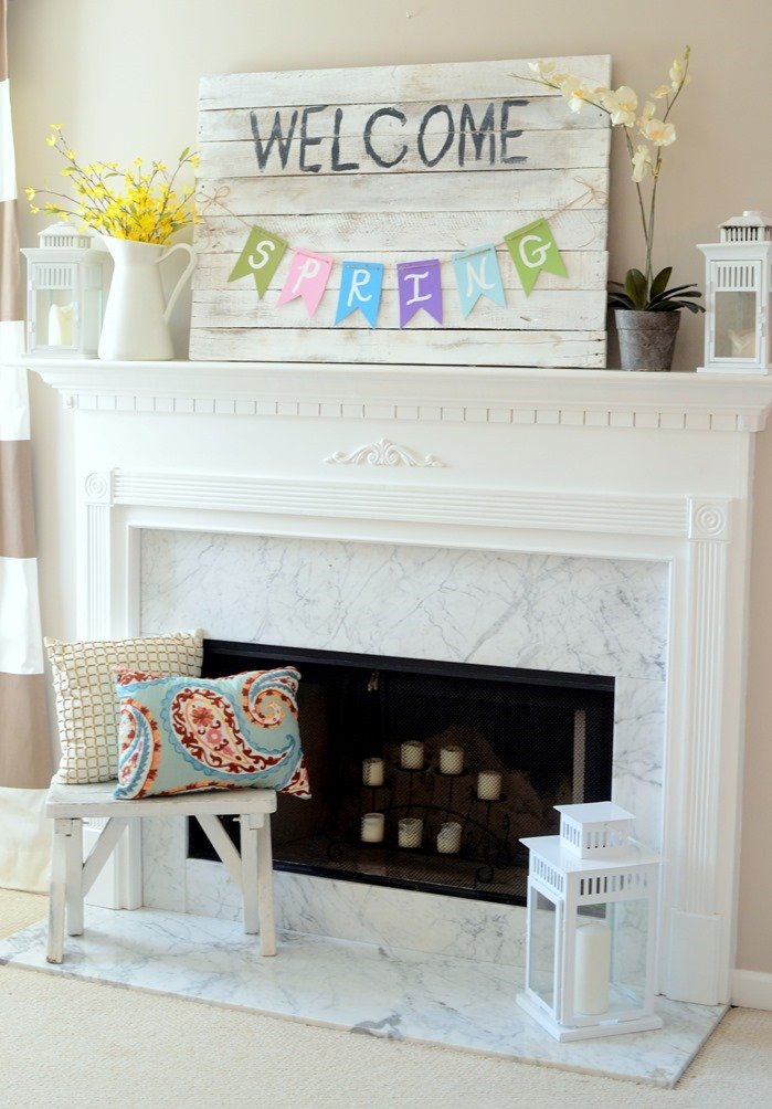 Spring mantel with pallet sign and painted banner