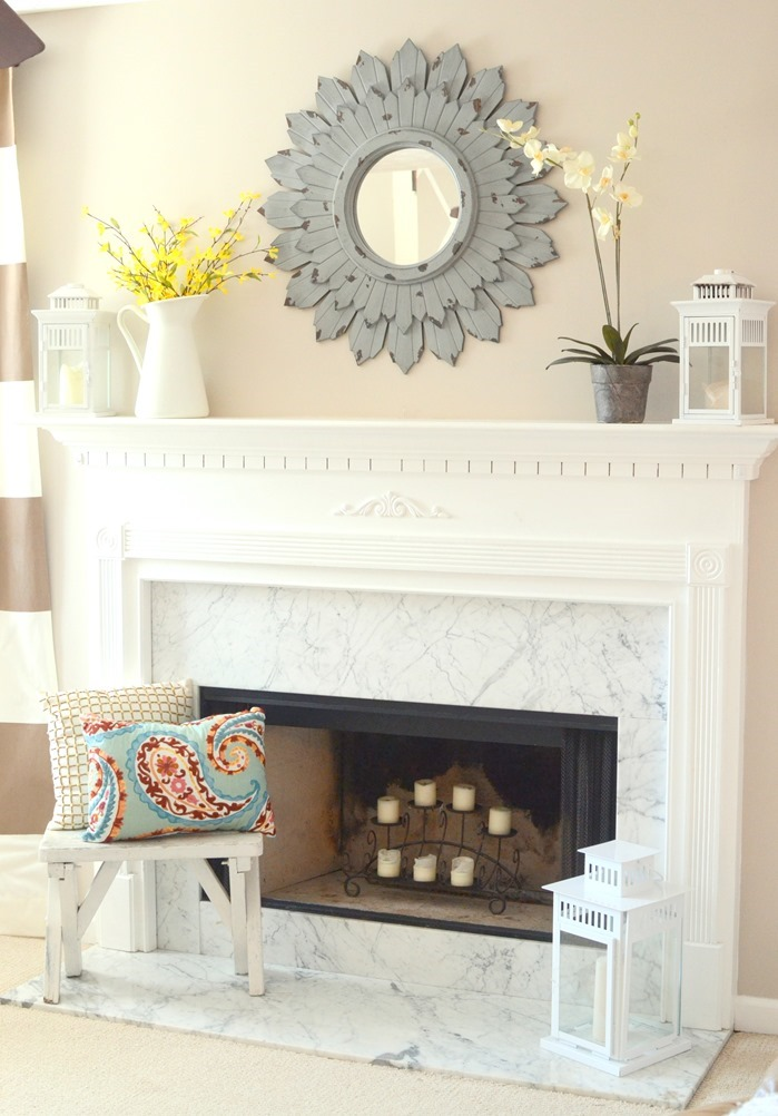 staged and decorated mantel