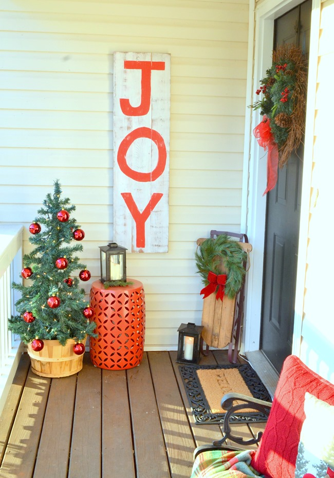 JOY sign on porch
