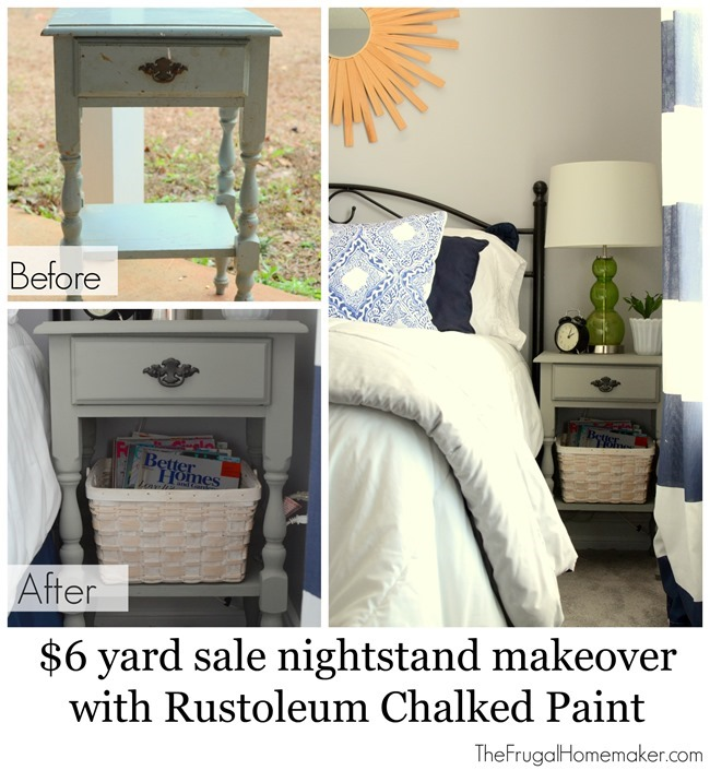 $6 yard sale nightstand makeover with Rustoleum Chalked Paint