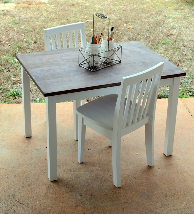 Farmhouse style kids table and chairs makeover