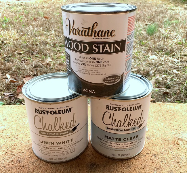 Rustoleum Chalked paint and Varathane stain