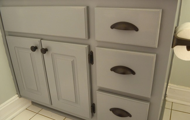 Farmhouse style bathroom gray painted cabinet