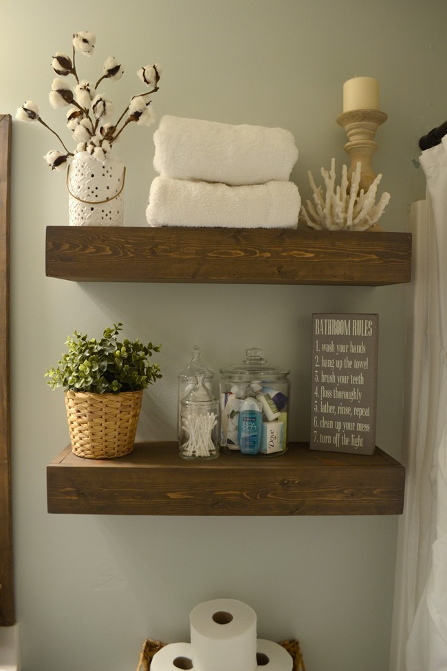 DIY Rustic Wood Floating Shelves