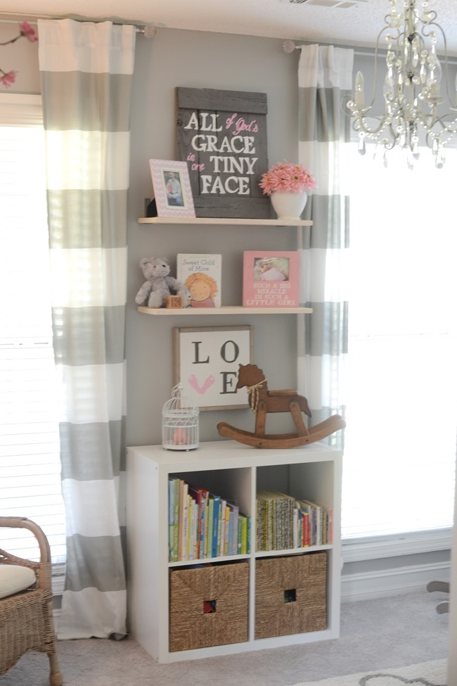 Gray and white girls nursery-16