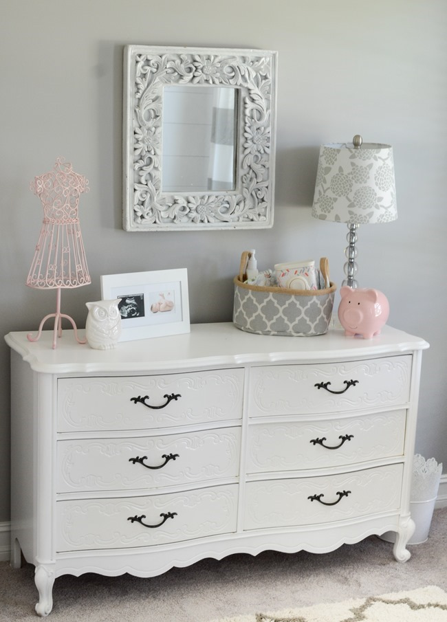 Gray and white girls nursery-18