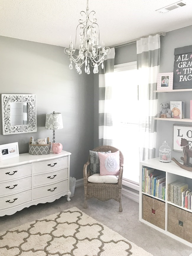 Gray and white girls nursery-6