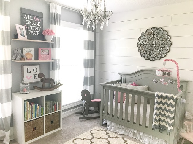 Gray and white girls nursery-9