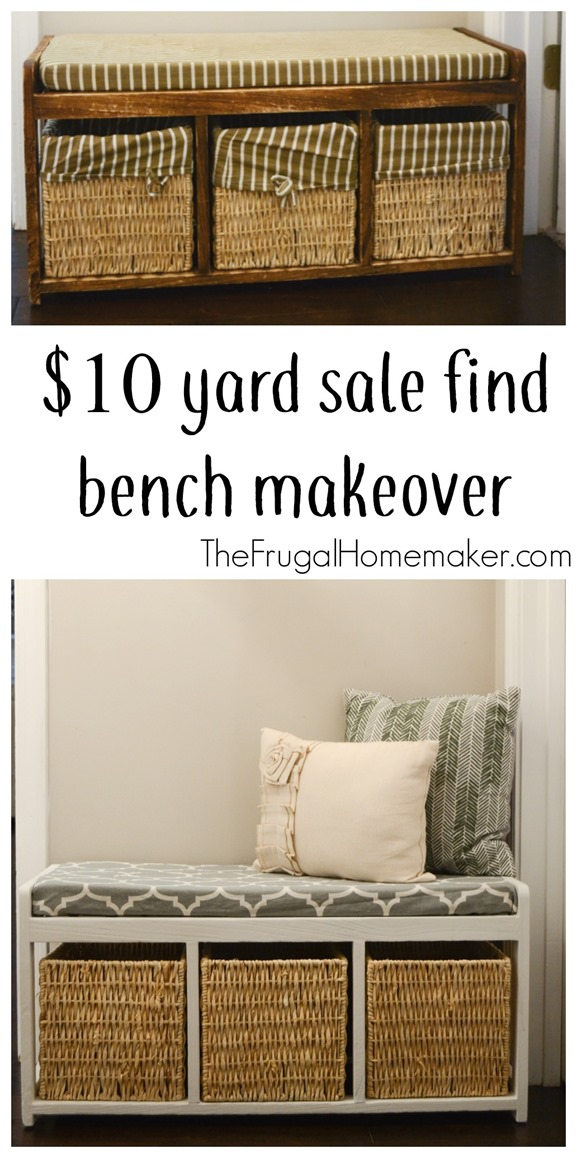 $10 yard sale find bench makeover + painted mudroom