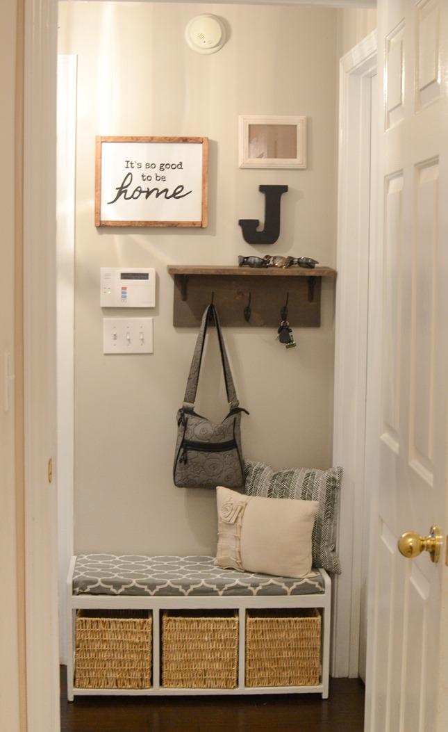 Mudroom gallery wall   DIY coat rack shelf-3