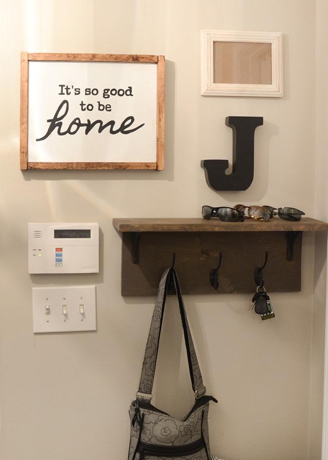 Mudroom gallery wall   DIY coat rack shelf-7