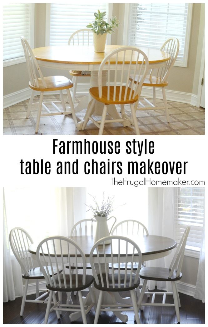 Farmhouse style table and chairs makeover