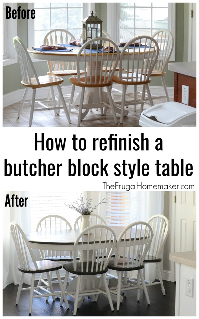 Butcher block table and chairs farmhouse style makeover